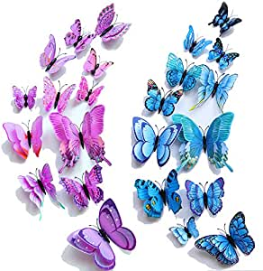 【Double Wings】 TERSELY 24 Pack Blue + Purple 3D Butterfly Wall Removable Sticker Decals, Home Decoration DIY Removable Man-Made Wall Stickers for Wall Decor Home Decor Wall Art Kids Room Bedroom