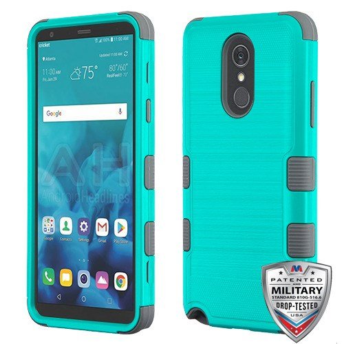 Hybrid Package - Teal Green Brushed/Iron Gray TUFF Hybrid Phone Protector Cover [Military-Grade Certified](with Package) for LG Stylo 4 LG Stylo 4 Plus