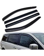 Lightronic WV94251 Tape-on Side Window Visor Deflector Rain Guard, Dark Smoke Shatterproof, 4 PCS Set for 2008-2018 Dodge Grand Caravan & for 2008-2016 Chrysler Town & Country