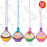 """ArtCreativity Cupcake Bubble Necklaces (Set of 12)   3.5"""" Bubble Blower Bottles with Solution   Birthday Party Favors/ Tea Party Supplies/ Goody Bag Fillers / Gift Idea for Boys and Girls"""