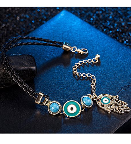Micrkrowen Handmade Fatima Palm Bracelet Devil's Eye Turquoise Bangle (gold)
