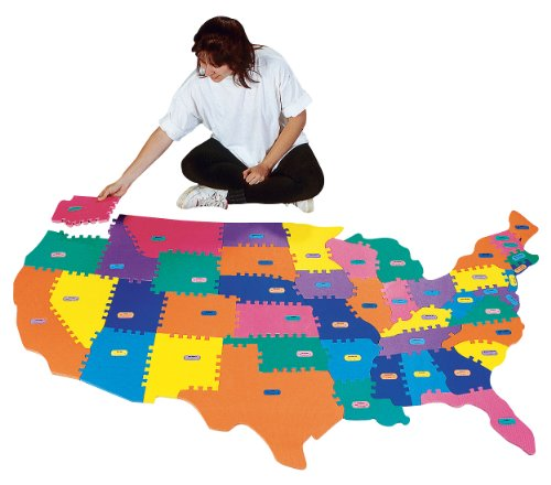 FlagHouse - Giant Foam Puzzle Map - Continental USA - 12 Game Activity Book Included - State Capital Nameplates (States By Order Of Entry Into The Union)