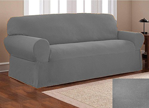 Fancy Collection Sure Fit Stretch Fabric Sofa Slipcover Sofa and Love Seat Covers Solid New #Stella (Light Grey, 2 pc Set) by Fancy Linen