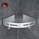 Gricol Bathroom Shower Shelf Triangle Wall Shower Caddy Space Aluminum Self Adhesive No Damage Wall Mount (Silver)