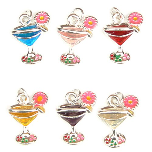 - Cocktail Glass Charms - Enamel and Silver Plated - Set of 6