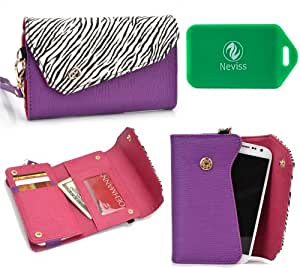 Wallet smart phone holder BONUS cross body chain strap included- Purple/ Black and white- Universal fit for Gionee CTRL V4