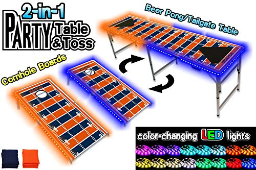 PartyPongTables.com 2-in-1 Denver Football Field with LED Lights 2-in-1 Cornhole Boards & Beer Pong Tailgate Table with Color-Changing LED Glow Lights - Denver Football Field