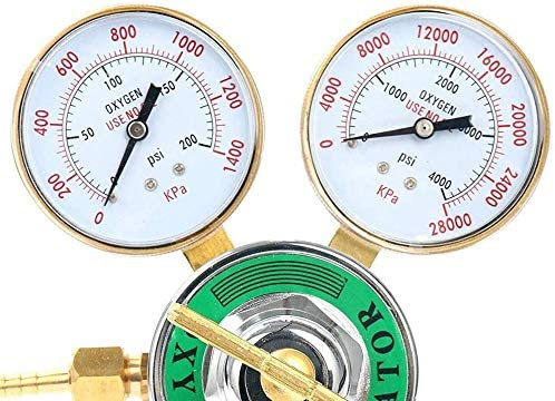 Haofst Oxygen Regulator Large Tank Gauge Cutting Torch Regulator Outlet 0-200PSI Inlet 0-4000PSI CGA 540