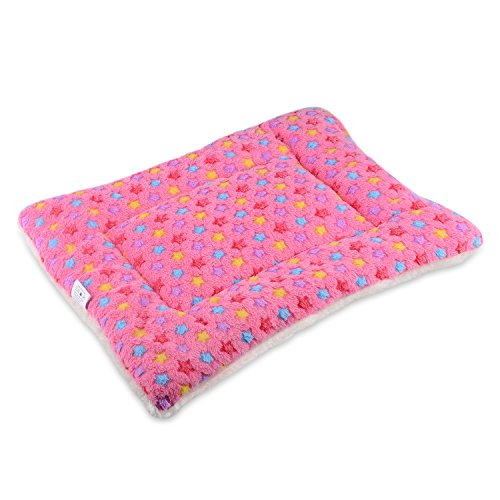 Mora Pets Ultra Soft Pet (Dog/Cat) Bed Mat with Cute Prints | Reversible Fleece Crate Pad| Machine Washable Pet Bed Liner (X-Small, Pink)