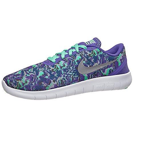 (GS) Print Running Shoes-Dark Iris/Sliver/Green-6 ()