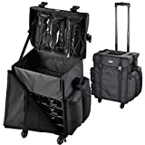 AW Black Soft-sided Rolling Makeup Case 17x14x22'' Oxford Cosmetic Train Bag Travel Show Party