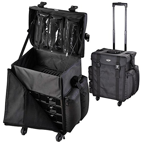 AW Oxford Rolling Makeup Train Case Soft-sided Cosmetic Travel Bag with 4 Detachable Wheel Black Makeup Luggage