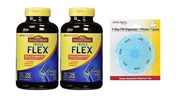Amazon.com: Naturaleza TripleFlex - glucosamina condroitina y MSM - 2 botellas, 170 cápsulas con gratis 7 días plástico píldora organizadores: Health ...