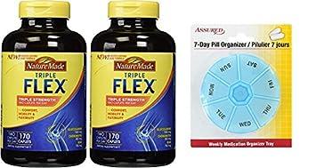 Naturaleza TripleFlex - glucosamina condroitina y MSM - 2 botellas, 170 cápsulas con gratis 7