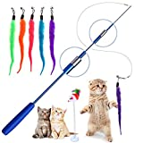 Retractable Cat Toys Wand with 5 Piece Teaser Refills, Interactive Cat Feather Toy for Cat Kitten...