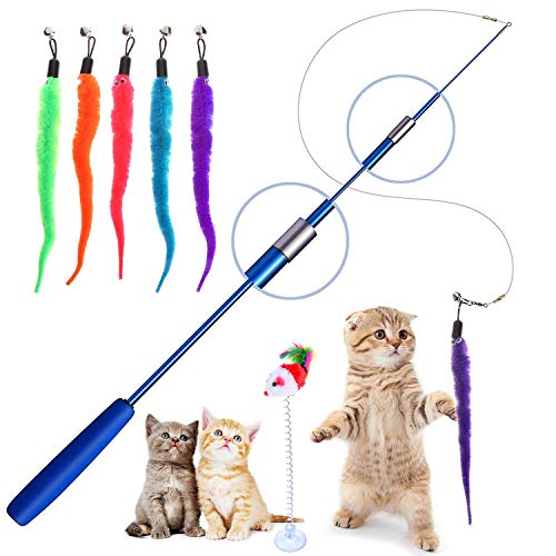 Retractable Cat Toys Wand with 5 Piece Teaser Refills, Interactive Cat Feather Toy for Cat Kitten Having Fun Exerciser Playing 2