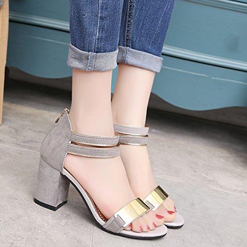 Chaussures Épaisse SHOESHAOGE Bouche Sandales EU34 Femmes Poisson Heeled High Avec Chaussures Étudiant nH8q6HFw