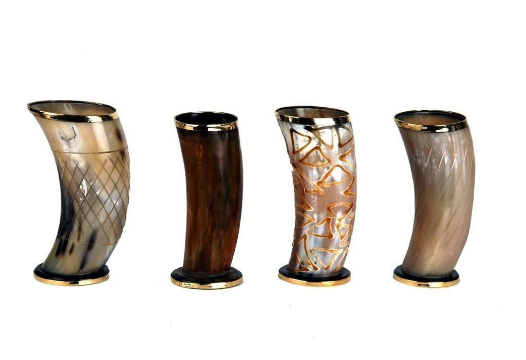 PARIJAT HANDICRAFT Set of 4 Ceremonial 6'' viking drinking horn Mug cups for ale beer wine mead gift