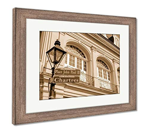 Ashley Framed Prints Chartres Street Sign, Wall Art Home Decoration, Sepia, 26x30 (Frame Size), Rustic Barn Wood Frame, AG6468460