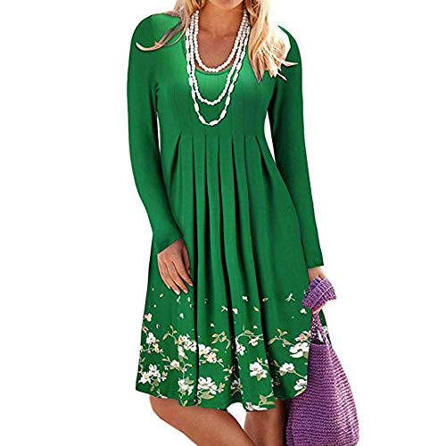 - QBQCBB Women Floral Printing Pleated Gown Long Sleeve Round Neck Loose Dress(Green,XXL)