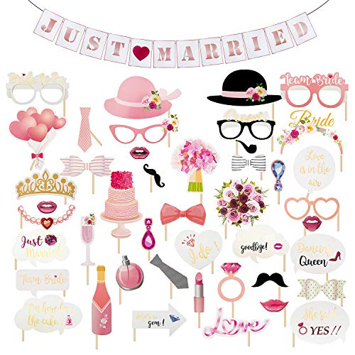 45Pcs Photo Booth Props Banner Set for Wedding Bridal Shower Birthday Girls Night Out Hen Bachelorette Party, Tie Hat Beard Mask Greetings Sticker Dress Up Photography Accessories Supplies(Cute Size) ()