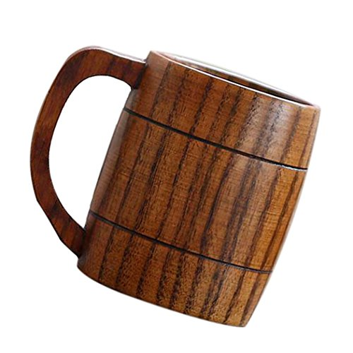 Justdolife 5PCS Wood Mug Beer Cup Handmade Natural Wooden Water Cup for Wine Coffee Tea by Justdolife (Image #1)