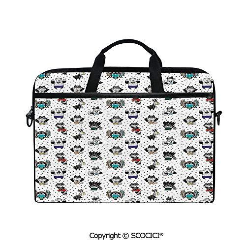 Durable Waterproof Printed Laptop Shoulderr Bag Animal Owl Dear Fox Cat Penguin Raccoon Bear in Superhero Costumes Print Computer Briefcases for 15 inch -