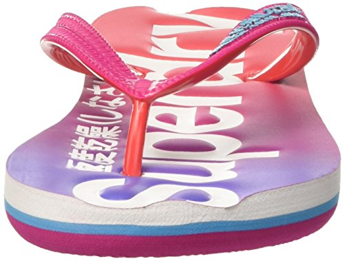 Superdry Faded - Sandalias de dedo Mujer Multicolore (Fuschia/Poppy Red/Iris)