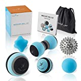 Massage Ball Kit for Myofascial Trigger Point Release & Deep Tissue Massage - Set of 6 - Large Foam/Small Foam/Lacrosse/Peanut/Spiky/Hand Exercise Ball - Carry Bag & Exercise Guide Include