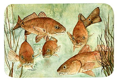 "80%OFF Caroline's Treasures 8983JCMT ""Red Fish Swim"" Kitchen or Bath Mat, 24"" H x 36"" W, Multicolor"