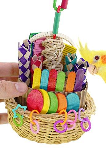 Bonka Bird Toys 00669 Foraging Basket Toy cage Conure Cockatiel Parakeet Quaker. (Bird Basket)