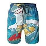 Funny Surfing Shark with Glasses Custom Men's Summer Beach Shorts Swim Trunks Household Pants with Pockets Quick Dry Swim Trunk