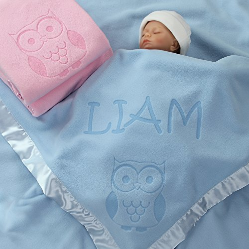 Owl Gifts, Baby Blanket - Boy or Girls Nursery Décor, Toddler Crib Bedding Plush (1 Line of Text)