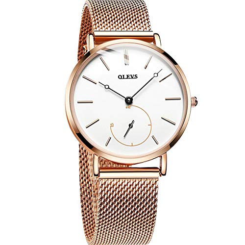 OLEVS Ultra Thin Women Watches Simple Stylish Analog Quartz Watch White Dial Rose Gold Case and Stainless Steel Milane Mesh Band,Ladies Wrist Watches on Sale,2018 Watches for Women -