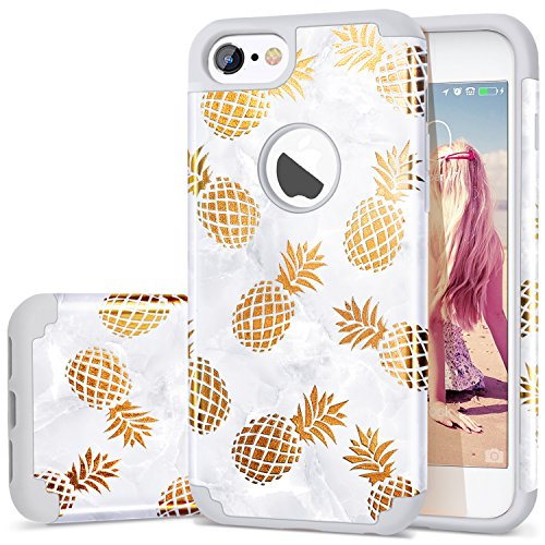 iPhone 8 Pineapple Case,iPhone 7 Phone Case,Fingic Slim Golden Pineapple&Grey Marble Cute Pattern Cover for Girls Ladies Hard PC Soft Rubber Protective Skin Cover for iPhone 7/iPhone 8,Grey