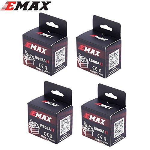 New 4PCS EMax 9g High Sensitive Mini Sub Micro Servo ES08A 8g ES08 3D Airplane #1852