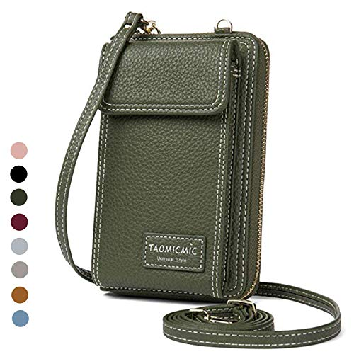 Women Purse Leather Cellphone Holster Wallet Case Mini Small Crossbody Shoulder Bag Messenger Pouch Ladies Handbag Clutch Phone Pockets for iPhone 8 Plus Xs Max X Xr 7/6 Plus Samsung S10+ (Green)