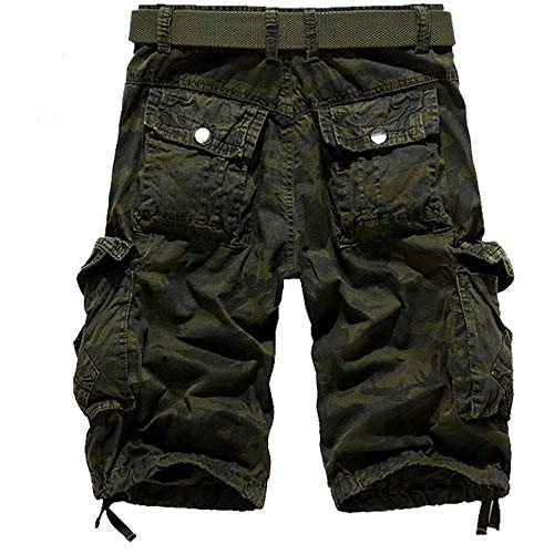 NEEKEY Mens Shorts Summer Casual Pocket Beach Work Short Trouser Loose Camouflage Outdoors Cargo Pant