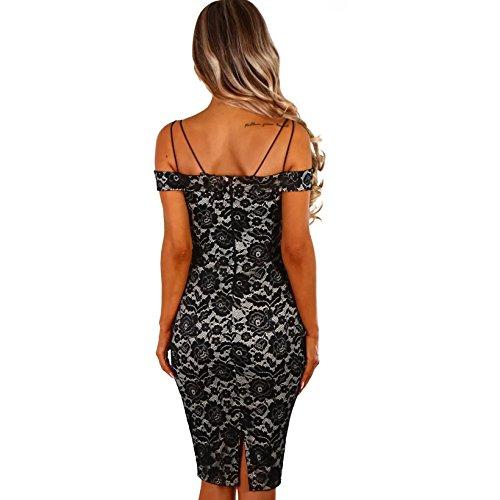 Vestidos De Fiesta Largos Sexys Casuales Elegantes Encaje Negros Ropa De Moda Para Mujer VE0064 at Amazon Womens Clothing store: