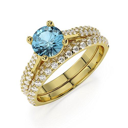 Or jaune 18carats 1CT G-H/VS sertie de diamants ronds Cut aigue-marine et mariée Bague de fiançailles et ensemble de Agdr-2013