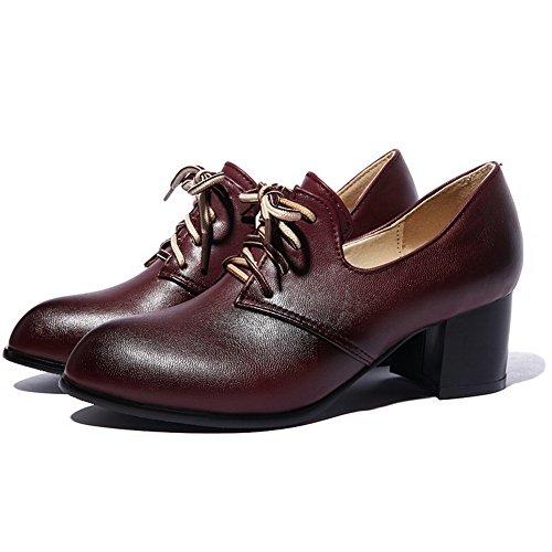 Amoonyfashion Delle Donne Pu Tacco A Gattina A Punta Chiusa Scarpe Stringate Lace-up-scarpe Claret