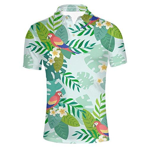HUGS IDEA Men's Golf Polos Shirt Cartoon Short Sleeve Jungle Bird Print Fashion Athletic T-Shirt Tees