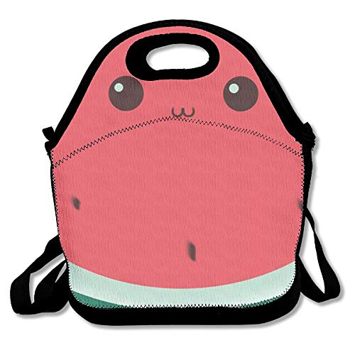 Moyhza Watermelon Insulated Lunch Box with Zipper,Carry Handle and Shoulder Strap for Adults Or Kids Black One ()