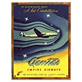 Wood-Framed Quantas Constellation Metal Sign: Travel Decor Wall Accent for kitchen on reclaimed, rustic wood