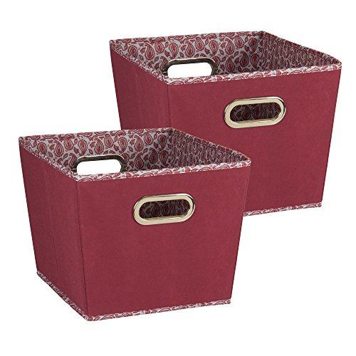 Household Essentials 95 Medium Tapered Decorative Storage Bins   2 Pack Set Cubby Baskets   Red Burgundy Paisley