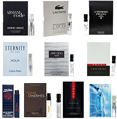 Men's Designer Fragrance Sample Pack: 10 Different Cologne Vials (exactly as pictured)