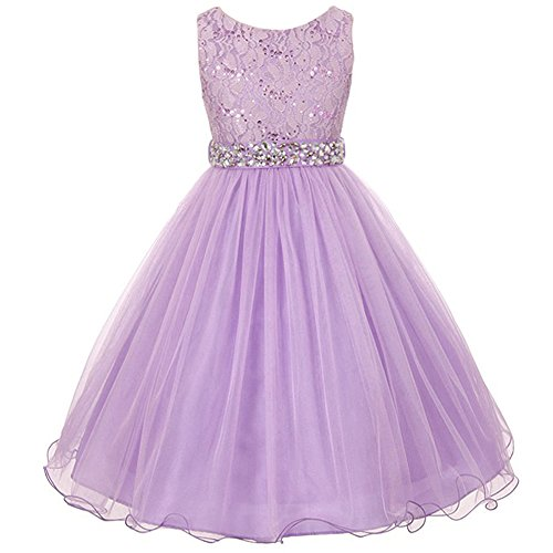 Big Girls Sleeveless Dress Glitters Sequined Bodice Double Layer Tulle Skirt Rhinestones Sash Flower Girl Dress Lilac - Size 12]()