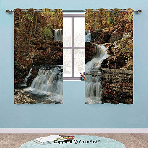 PUTIEN Colored Curtains Thermal Insulated with Grommet Curtains for Bedroom,29x36-Inch, United States Upper Falls at Delaware Water Gap Autumn Nature Forest Scenery -