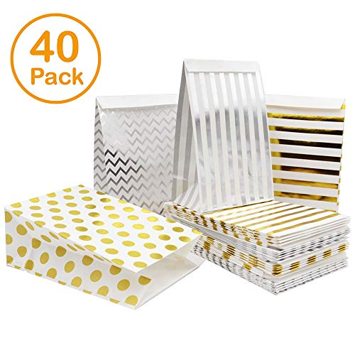 Paper Goody Treat Bags 40 Pcs Metallic Gold & Silver Polka Dots & Stripes Kid Party Candy Snack Gift Favor Cookie Bags Flat Bottom Perfect for Bridal Baby Showers Parties 7.8x5.1x3Inch by BllalaLab