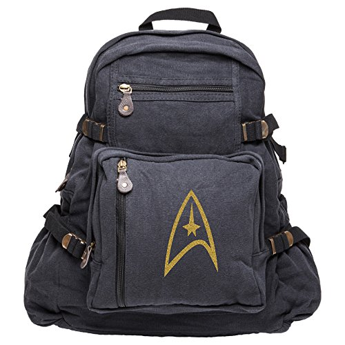 Star Trek Federation Army Sport Heavyweight Canvas Backpack Bag in Black & Gold, Large ()